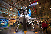 Grumman TBF Avenger in the hangar of the Intrepid Sea, Air & Space Museum is a military and maritime history museum with a collection of museum ships in New York City.
