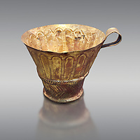 Mycenaean gold cup with arches decoration, Grave V, Grave Circle A Mycenae, Greece. National Archaeological Museum of Athens. Grey Background<br /> <br /> <br /> An elegant precious gold cup hammered from thick gold to created a simple elegant design. This Mycenaean gold cup demonstrates how advance Mycenaean metalworking was in the 16th century BC. The value of the cup would have been extermely high so must have graced the table of a Mycenaean noble perhaps even a v king.