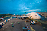 Airbus A380 first commercial flight - Singapore Airlines SQ 380 Singapore-Sydney on October 25, 2007. The plane ready to board at Changi Airport.