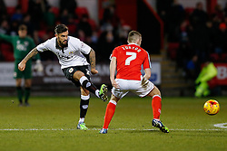 Marlon Pack of Bristol City shhoots past Oliver Turton of Crewe Alexandra - Photo mandatory by-line: Rogan Thomson/JMP - 07966 386802 - 20/12/2014 - SPORT - FOOTBALL - Crewe, England - Alexandra Stadium - Crewe Alexandra v Bristol City - Sky Bet League 1.