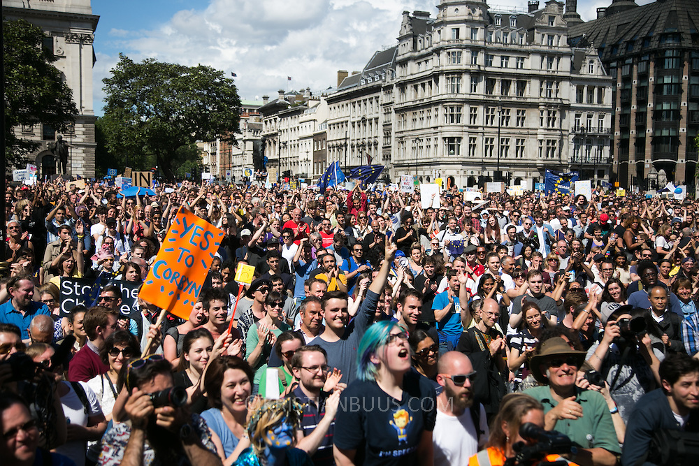 Anti-Brexit march and rally 2nd of July in London, United Kingdom. 48 percent of voters wanted to stay n the EU and now feel disenfranchised and cheated on and many want a second referendum. The rally in Parliament Square.