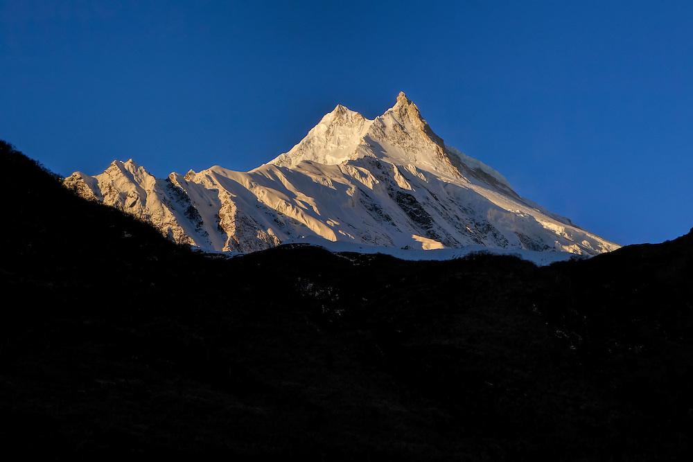 Manaslu at sunrise.  At 8156 meters (26,759 feet) Manaslu is the eighth highest peak on the planet.
