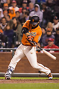 San Francisco Giants shortstop Brandon Crawford (35) swings at a pitch against the St. Louis Cardinals at AT&T Park in San Francisco, Calif., on September 16, 2016. (Stan Olszewski/Special to S.F. Examiner)