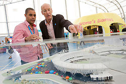 Open House. John Armitt discusses the new Olympic facilities at the Open House exhibition with athlete Jason Gardener. Picture taken on 20 Sep 2008 by Anthony Charlton.