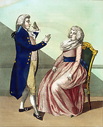 Operator mesmerising a patient. Engraving published London c1795