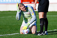 Accrington Stanley goalkeeper Connor Ripley (30) on loan from Middlesbrough, feels a knock during the EFL Sky Bet League 1 match between Accrington Stanley and Portsmouth at the Fraser Eagle Stadium, Accrington, England on 27 October 2018.