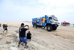 January 8, 2018 - Pisco, Peru - Russian driver Eduard Nikolaev, co-driver Evgeny Yakovlev and mechanic Vladimir Rybakov compete during the 2018 Dakar Rally Race Stage 2 in Pisco, Peru. They ranked first of Truck race of the stage 2 with 3:24:23. (Credit Image: © Li Ming/Xinhua via ZUMA Wire)