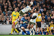 Mitch Hunt takes a high ball over Bryce Heem.<br /> Blues v Highlanders, Sky Super Rugby Trans-Tasman Final. Eden Park, Auckland. New Zealand. Saturday 19 June 2021. © Copyright Photo: Andrew Cornaga / www.photosport.nz
