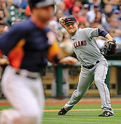 Apr 21, 2013; Houston, TX, USA; Cleveland Indians relief pitcher Joe Smith (38) throws out Houston Astros second baseman Jose Altuve (27) in the seventh inning at Minute Maid Park. Mandatory Credit: Thomas Campbell-USA TODAY Sports
