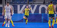 TOKIO - Tom Wickham (Aus) heeft de stand op 1-1 gebracht  tijdens de hockey finale mannen, Australie-Belgie (1-1), België wint shoot outs en is Olympisch Kampioen,  in het Oi HockeyStadion,   tijdens de Olympische Spelen van Tokio 2020. COPYRIGHT KOEN SUYK