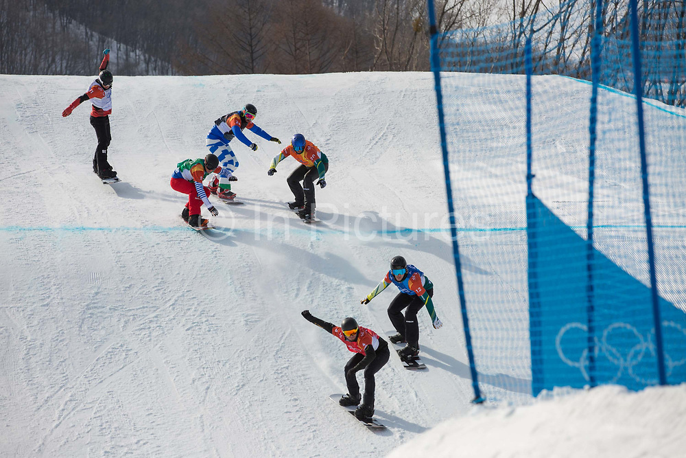 The mens boardercross semi-finlas at the Pyeongchang Winter Olympics on 15th February 2018 at Phoenix Snow Park in South Korea