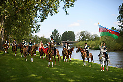 © London News Pictures. 15/05/2016. Windsor, UK. Riders from the Azerbaijan Dancers and Karabakh Riders  team, ride along the banks of the River Thames on the final day of the 2016 Royal Windsor Horse Show, held in the grounds of Windsor Castle in Berkshire, England. This years event is part of HRH Queen Elizabeth II's 90th birthday celebrations.  Photo credit: Ben Cawthra/LNP