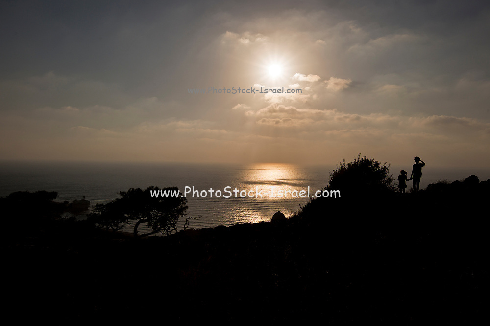 Sunset over the Mediterranean Sea. As seen from Stella Maris, Haifa, Israel