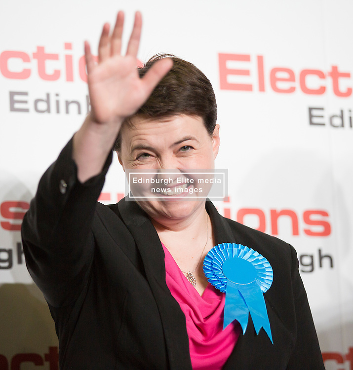 Scottish Parliament Election 2016 Royal Highland Centre Ingliston Edinburgh 05 May 2016; Ruth Davidson (Scottish Conservative leader) is all smiles as she wins her seat during the Scottish Parliament Election 2016, Royal Highland Centre, Ingliston Edinburgh.<br /> <br /> (c) Chris McCluskie | Edinburgh Elite media