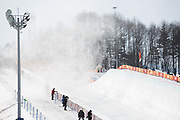 Wind blows across the halfpipe during the Snowboard Halfpipe Qualifications Pyeongchang Winter Olympics on 13th February 2018 at Phoenix Snow Park, South Korea