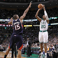 10 May 2012: Boston Celtics shooting guard Ray Allen (20) takes a three point jumpshot over Atlanta Hawks center Al Horford (15) during the Boston Celtics 83-80 victory over the Atlanta Hawks, in Game 6 of the Eastern Conference first-round playoff series, at the TD Banknorth Garden, Boston, Massachusetts, USA.