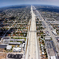 500 feet over Interstate 95 in North Miami looking south.  City of Miami skyline is off in the distance on the left.  U.S. Highway 441 is on the right.