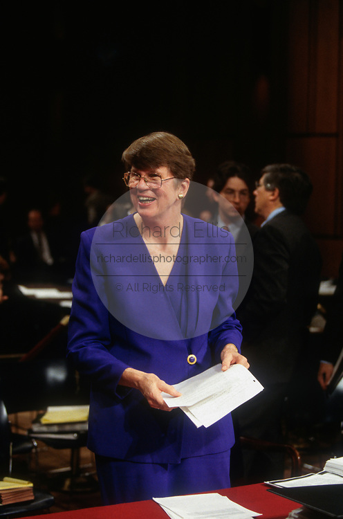 WASHINGTON, DC, USA - 1997/04/30: U.S. Attorney General Janet Reno prepares to testify before the Senate Judiciary Committee on Capitol Hill April 30, 1997 in Washington, DC. Reno refused to appoint an independent counsel to investigate campaign finance abuses demanded by Republicans.   (Photo by Richard Ellis)