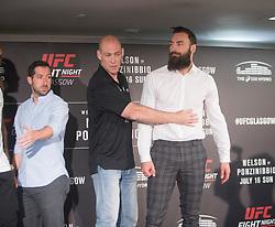 Scot Paul Craig (white shirt)  – UFC light heavyweight with Khalil Rountree – UFC light Heavyweight. UFC FIGHT NIGHT: ULTIMATE MEDIA DAY, Castle, Crowne Plaza Glasgow,