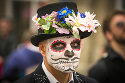 A participant in the Mazey Day celebrations in Penzance, Cornwall.