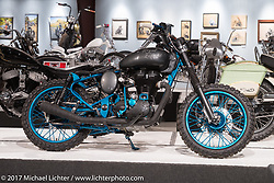 AJ Harris' custom Royal Enfield B5 Bobber in the Old Iron - Young Blood exhibition in the Motorcycles as Art gallery at the Buffalo Chip during the annual Sturgis Black Hills Motorcycle Rally. Sturgis, SD, USA. Wednesday August 9, 2017. Photography ©2017 Michael Lichter.