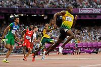 LONDON OLYMPIC GAMES 2012 - OLYMPIC STADIUM , LONDON (ENG) - 08/08/2012 - PHOTO : POOL / KMSP / DPPI<br /> ATHLETICS - MEN'S 200 M - USAIN BOLT (JAM)
