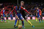 Kevin De Bruyne of Manchester City challenges Jason Puncheon of Crystal Palace. Premier League match, Crystal Palace v Manchester city at Selhurst Park in London on Saturday 19th November 2016. pic by John Patrick Fletcher, Andrew Orchard sports photography.