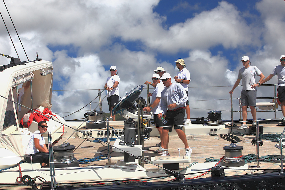 Racing downwind along the St. Maarten coastline during the 2012 RORC Caribbean 600.