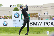 Pep Guardiola tees off on the 1st hole during the Celebrity Pro-Am day at Wentworth Club, Virginia Water, United Kingdom on 23 May 2018. Picture by Phil Duncan.