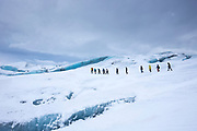 Tourists on glacier hike on Svinafellsjokull glacier, an outlet glacier of Vatnajokull, South Iceland