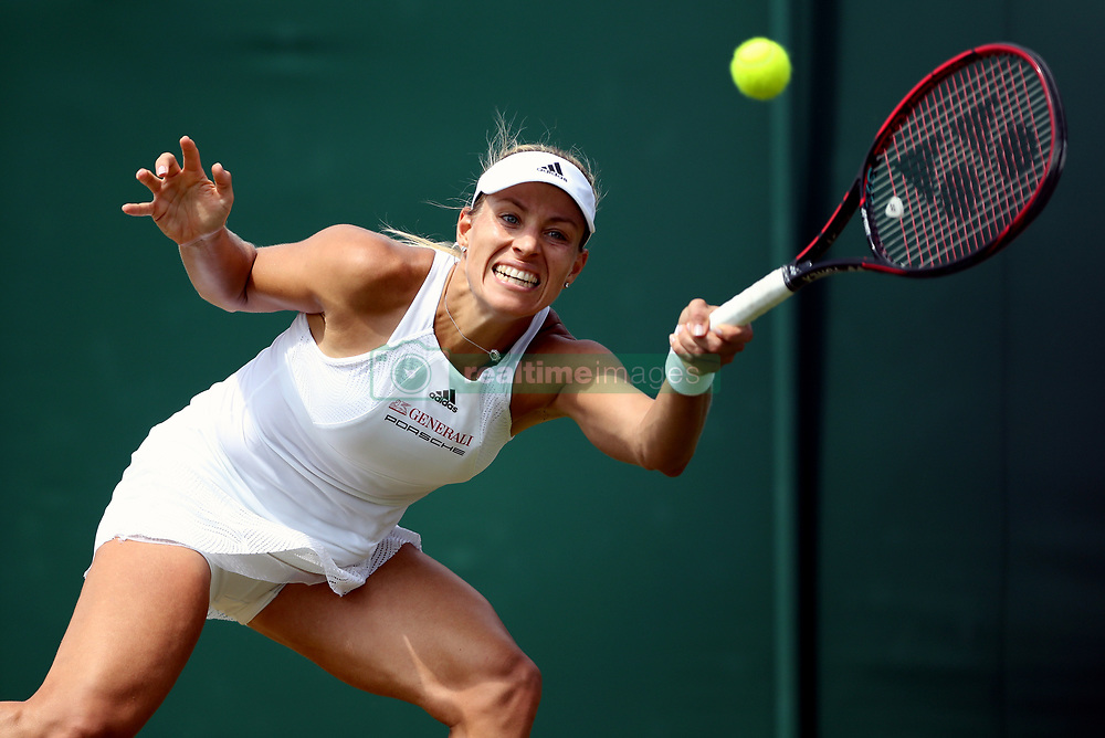 Angelique Kerber in action against Ana Konjuh on day seven of the Wimbledon Championships at The All England Lawn Tennis and Croquet Club, Wimbledon.