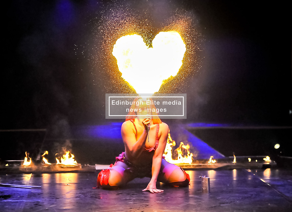 Pictured: Kitty Bang Bang, from the Little Death Club (UK) <br /> <br /> Performers from across the globe came together at the Edinburgh Festival to mark the 250th anniversary of circus performances.<br /> <br /> © Dave Johnston / EEm