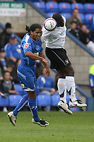 Photo: Pete Lorence.<br />Peterborough United v Hereford United. Coca Cola League 2. 27/10/2007.<br />Theo Robinson and Chris Westwood battle for the ball.