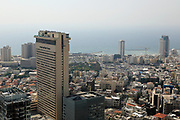elevated view of Meir Shalom tower, Tel Aviv, Israel [When constructed was the tallest tower in the Middle East]