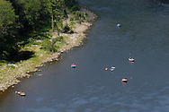 Deerpark, NY - Rafters and kayakers move down the Delaware River as seen from the Hawks Nest lookout on Aug. 13, 2007.