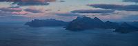 View from summit of Møntind, Flakstadøy, Lofoten Islands, Norway
