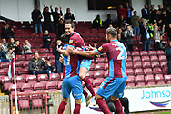 Scunthorpe United forward Lee Novak (17)  celebrates scoring goal with Scunthorpe United midfielder Josh Morris (11)  to go 1-0  during the EFL Sky Bet League 1 match between Scunthorpe United and Rochdale at Glanford Park, Scunthorpe, England on 8 September 2018. Photo Ian Lyall