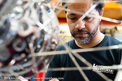 Born Free 9 invited builder Dave Polgreen working on his Knucklehead in his and Jeff Leighton's The Wretched Hive shop just before the start of the event. Santa Ana, CA. USA. Wednesday June 21, 2017. Photography ©2017 Michael Lichter.