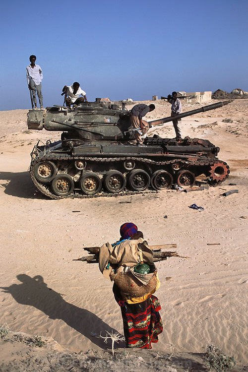 One of General Aidid's tanks captured and disabled in a battle for Keysaney Hospital. Mogadishu, war-torn capital of Somalia. March 1992.