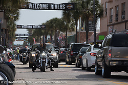 Bikes still have to share Main Street with car traffic during Daytona Bike Week's 75th Anniversary event as the city will only reluctantly shut the street to 4-wheel traffic for parts of two of the event's 9-days. FL, USA. Saturday March 12, 2016.  Photography ©2016 Michael Lichter.