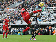 Mario Balotelli of Liverpool fails to connect with a long ball clean through on goal - Barclays Premier League - Newcastle Utd vs Liverpool - St James' Park Stadium - Newcastle Upon Tyne - England - 1st November 2014  - Picture Simon Bellis/Sportimage