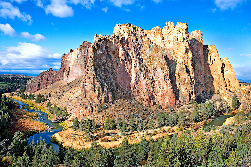 early morning light on rock monoliths at Smith Rocks State Park, Oregon