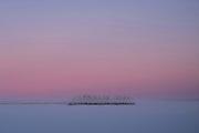 Sunrise over the frozen lake of Jeresjarvi on 20th February 2020 in Finnish Lapland. Jeresjarvi is on the edge of Pallas-Yllastunturi National Park, the third largest national park in Finland and is located in the Lapland region.