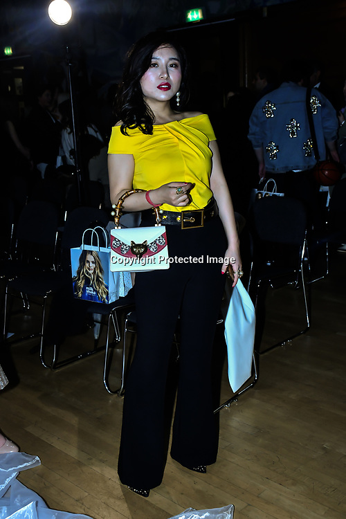 Kisin-K attend The British luxury Womenswear designer, Chanel Joan Elkayam, showcases her Autumn - Winter 2020 show ahead of London Fashion Week on 13 February 2020 at Cecil Sharp House, London, UK.