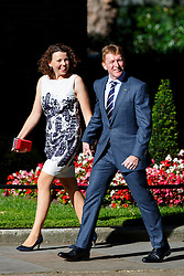 © Licensed to London News Pictures. 18/07/2016. London, UK. British astronaut TIM PEAKE and wife REBECCA PEAKE attend a reception in Downing Street, London on 18 July 2016. Photo credit: Tolga Akmen/LNP