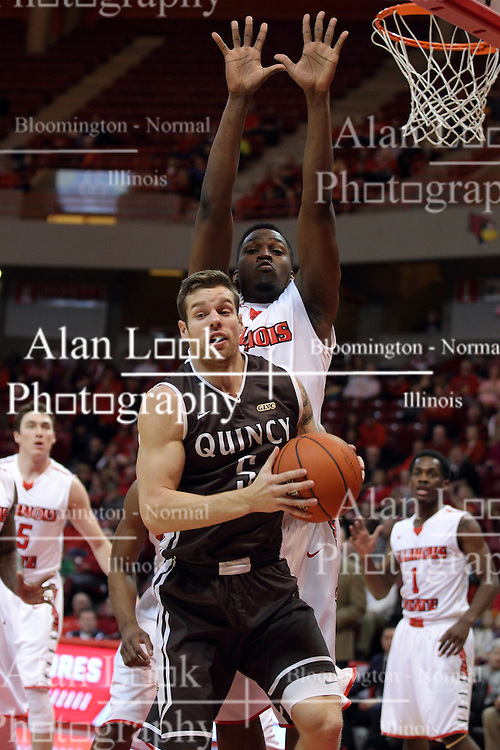 29 December 2014:  Scottie Bruxvoort, John Jones during an NCAA non-conference interdivisional exhibition game between the Quincy University Hawks and the Illinois State University Redbirds at Redbird Arena in Normal Illinois.
