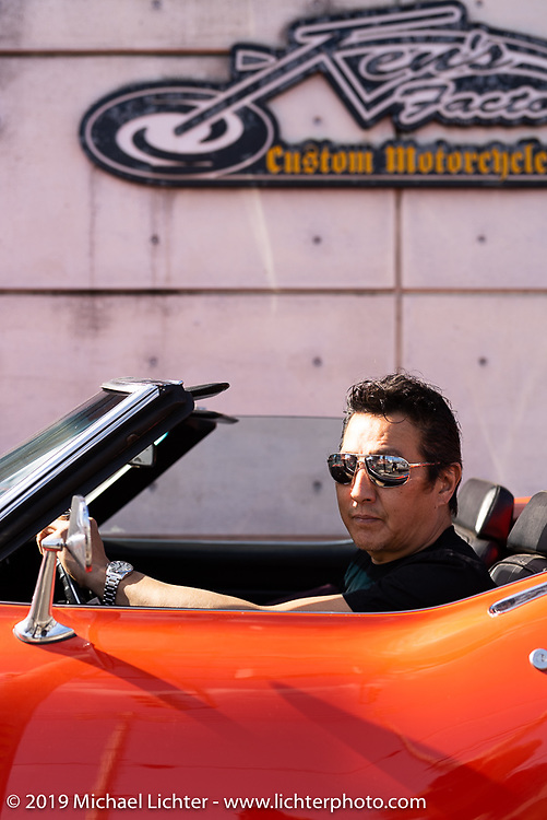 Ken Kenji Nagai of Ken's Factory in Nagoya in his Corvette (formerly owned by Charlie Sheen) at his shop, Japan. Wednesday, December 5, 2018. Photography ©2018 Michael Lichter.