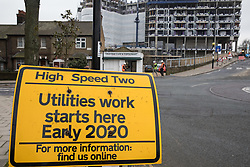 London, UK. 24 January, 2020. A sign indicates a site designated for the HS2 project at Old Oak Common. A new station, which would be one of the largest rail hubs in London, is planned for the High Speed Two rail link at Old Oak Common. Cost projections for the project are reported to have risen to £106bn and the Transport Secretary Grant Shapps has confirmed that the Government will make a decision regarding its viability in February 2020.
