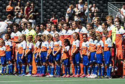team The Netherlands at the line up during the Champions Trophy finale between the Netherlands and Argentina on the fields of BH&BC Breda on Juli 1, 2018 in Breda, the Netherlands.