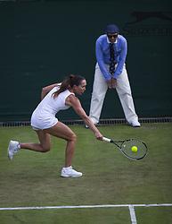 LONDON, July 5, 2017  Jelena Jankovic of Serbia hits a return during the women's singles first round match against Agnieszka Radwanska of Poland at the Championship Wimbledon 2017 in London, Britain, on July 4, 2017. Radwanska won 2-0. (Credit Image: © Jin Yu/Xinhua via ZUMA Wire)